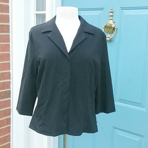 Lord & Taylor black button-front blouse petite